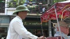 Vietnam pedicab driver - stock footage