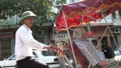Vietnam pedicab ride Stock Footage