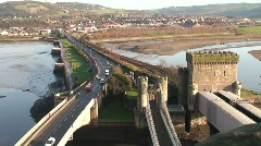 View of traffic from Conwy Castle Wales Stock Footage