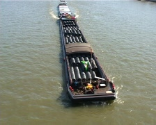 Heavy load transport ship on Rhine Stock Footage