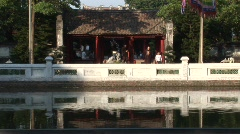 Vietnam temple on river Stock Footage