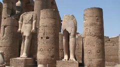Luxor Temple Columns & Statues Egypt - stock footage