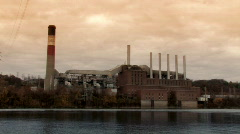 Old Factory on the Ohio River Stock Footage