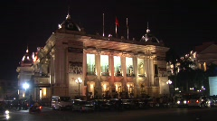 Hanoi Opera House at night - stock footage