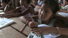 Cambodia: Children learn to read and write Stock Footage