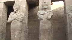 Egyptian Statues Karnak Stock Footage