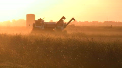 Silhouette of farm trucks - stock footage