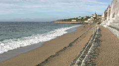 Waves breaking on Porthleven beach. Stock Footage