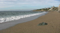 Potthleven beach breaking waves. Stock Footage