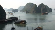 Vietnam boats in bay Stock Footage