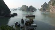 Boats at anchor, Vietnam Stock Footage