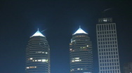 Time lapse. Skyscrapers of Dnepropetrovsk at night. Stock Footage