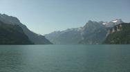 Small moored boat on Lake Luzern Switzerland Stock Footage