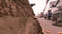 Peru Earthquake Major HIghway crack - stock footage