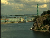 Aerial of Bridge, Cruise Ship and Float Plane Stock Footage