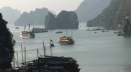 Cruise boats in Ha Long Bay, Vietnam Stock Footage