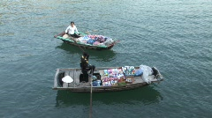 Vietnam, selling groceries from boats - stock footage