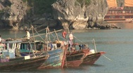 Vietnamese fishing boats Stock Footage