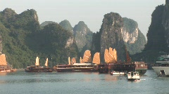 Sail boats at sunset, Vietnam Stock Footage