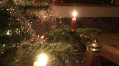 Christamstree with lonesome candle Stock Footage