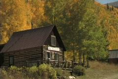 Cabin In The Aspen Glow-Zoom - stock footage