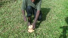 Malawi: african teen cuts coconut 1 Stock Footage