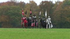 HD1080i Five Middle Ages knights with long sword on horse ride on meadow Stock Footage