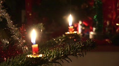 Christmastree with two candles  Stock Footage