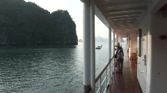 Cruise passenger on deck, Vietnam Stock Footage