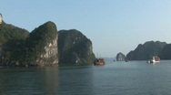 Stock Video Footage of Boats sailing in Ha Long Bay