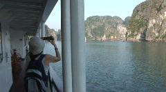 Cruising in Ha Long Bay, Vietnam Stock Footage