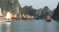 Stock Video Footage of Vietnam junk boats at sunset