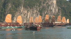 Junk boats at sunset, Vietnam - stock footage