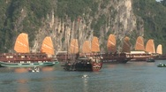 Stock Video Footage of Junk boats at sunset, Vietnam