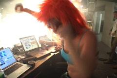 Orange Wig Dancer - stock footage