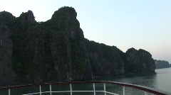 Ship deck, mountain scenery, Vietnam Stock Footage