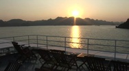 Stock Video Footage of Cruise ship sunset, Vietnam
