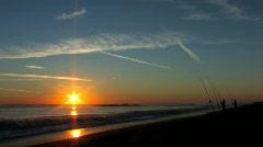 Fishing on the  Florida coast at sunrise with audio Stock Footage