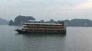 Stock Video Footage of Wooden cruise boat, Ha Long Bay