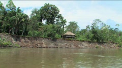 Cabana home along the Napo River, Ecuadorian Amazon Stock Footage