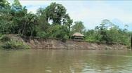 Cabana home along the Napo River, Ecuadorian Amazon Stock Footage