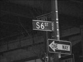 Street signs B W montage Stock Footage