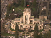 Aerial City Hall Vancouver BC Stock Footage