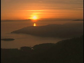 Aerial of sunset Vancouver Coast Stock Footage