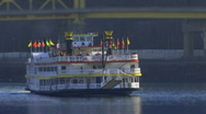 Stock Video Footage of Gateway Clipper Ship Magestic Turns 084