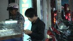 Cell phone shopper, Vietnam Stock Footage