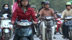 Motorbikes, busy traffic, Vietnam Stock Footage