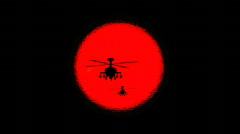 Sun and Apache Helicopter Silhouettes (HD720) Stock Footage