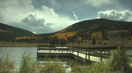 Pier &  Moumtain Lake Stock Footage