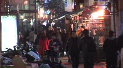 Korean shopping street, night Stock Footage